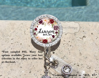 Bling Retractable Badge Holder,Personalized Badge Reel,Badge Reel,Badge Holder,Nurse,Pharmacy,RX,RN BSN, Burgundy Floral Watercolor, MB463
