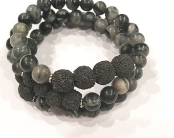 Stone Grey and Black Stackable Essential Oil Diffuser Bracelet