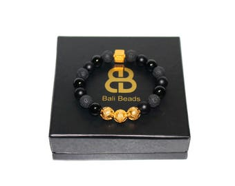 Men's Bracelet, Black Onyx and Lava  Gold Vermeil Bali Beads Bracelet, Bracelet for Man, Man's Bracelet, Bead Bracelet Man, Beaded Bracelet
