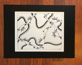 Lines Snakes Parseltongue Black and white original doodle Fine art print abstract Spencer Doodles