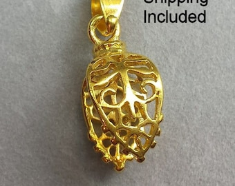 Gold Color, (Qty 5 or 10) Large Filigree Pinch Bails, Shipping from WI, USA Included (13-G)