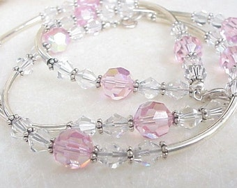 Sterling Silver Jewelry Set Earrings Bracelet Necklace Pink Clear Crystals