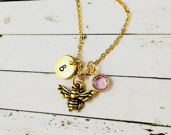 Honey Bee Necklace, Personalised Honey Bee Gifts, Gold Honey Bee Charm, Hand Stamped Initial & Birthstone Charms, Honey Bee Jewelry,