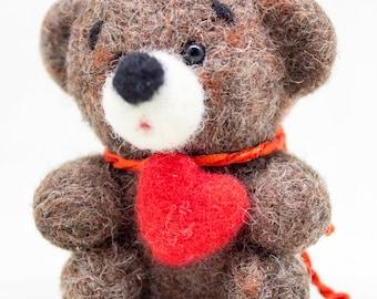 Mini Felted Artist Bear with heart, Brown bear, Cute woolen animal, Birthday gift, Eco Frendly Organic gift