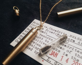 Meteorite Dust Time Capsule Necklace - Brass Pendant Locket with Glass Vial - EDC Gift