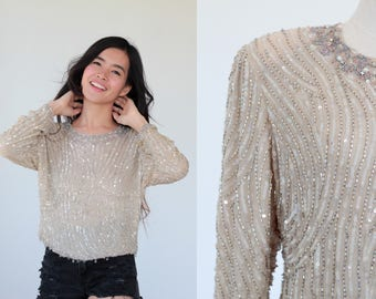 Vintage 70s blouse hand embroidered with Sequins and diamond beads Glam Party Festival Small Medium