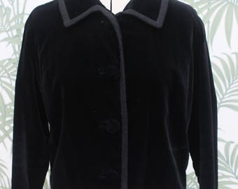 Vintage 1960s 60s Black Velvet Short Jacket Coat UK 10 12 US 8 10 medium long sleeved