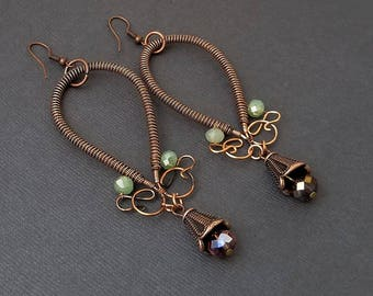 Copper Wire Wrapped Earrings WIth Purple & Green Beads
