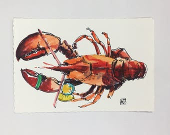 Original watercolor lobster painting, chef art, beach art, kitchen art, original postcard, 4x6 watercolor painting
