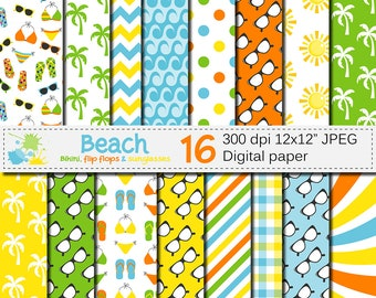 Beach Digital Paper, Summer backgrounds with flip flops, bikini, sunglasses and palms, Scrapbook paper download