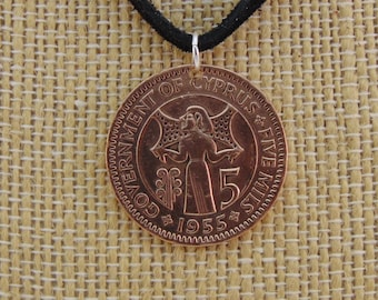 Cyprus Coin Necklace, 5 Mils, Coin Pendant, Leather Cord, Mens Necklace, Womens Necklace, Coin Jewelry, 1955