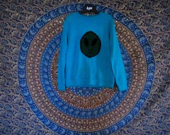 Hello Earthlings.. Upcycled Sweater // Free Form Crochet // Aliens // Wild Moon Child Designs // Handmade // Upcycled Fashion //
