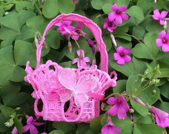 Embroidered Lace Tiny Easter Basket Pink