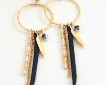 Navy Blue, gold plated dreamcatcher earrings
