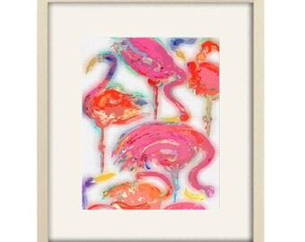 Elegant Bathroom Art Tropical Bathroom Decor Abstract Art Flamingo Art Print Girls  Bedroom Modern Nursery Decor Flamingo