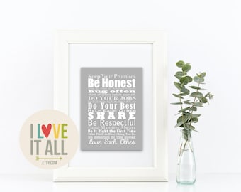 Family Love . Mothers Day Gift . House Rules Values Subway Art Typography Manifesto . Large Wedding Poster Graphic Typography Style