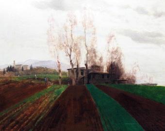 Arnold Bocklin: Farmland in Early Spring. Fine Art Print/Poster (004253)