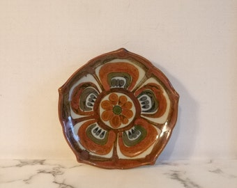 Vintage Mexican Ceramic Plate ~ Mexican Folk Art ~ Lotus Flower Design ~ Signed  'KE' Mexico ~ Ken Edwards Classic Design