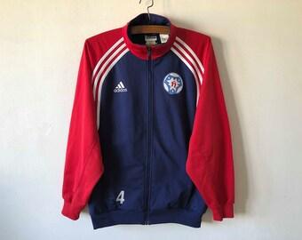 Vintage 90s Blue Red ADIDAS Football Jacket Running Adidas Track Jacket Blue Parka Soccer Jacket Hipster Sport Coat Three Stripes Size Large