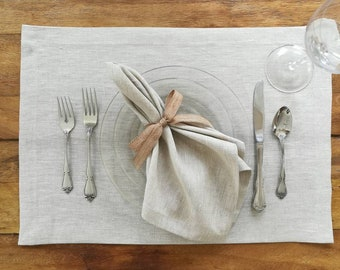 Linen Placemats - Set of 4 or 6 - Choice of colors