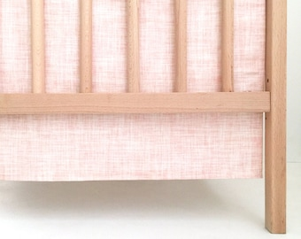 Crib Skirt Pink Texture. Baby Bedding. Crib Bedding. Crib Skirt Girl. Baby Girl Nursery. Pink Crib Skirt.