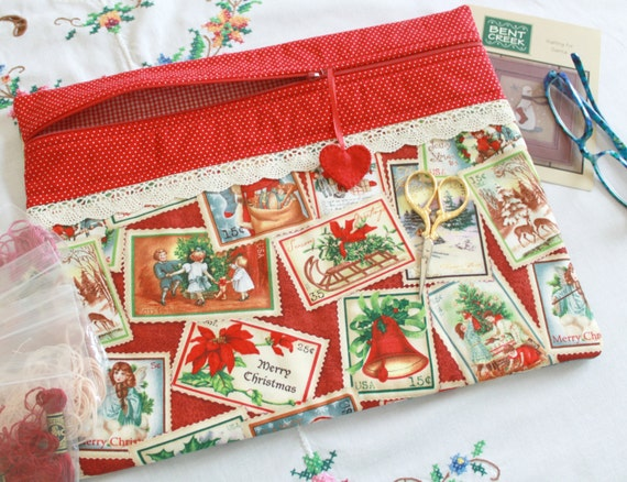 Vintage Christmas Stamps Cross Stitch, Sewing, Embroidery Project Bag
