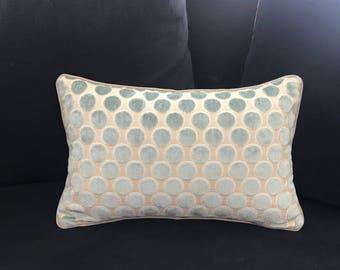 Jane Churchill - Aqua Velvet circles on beige ground lumbar pillow