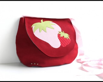 """Little Star"" strawberries red cotton canvas bag"