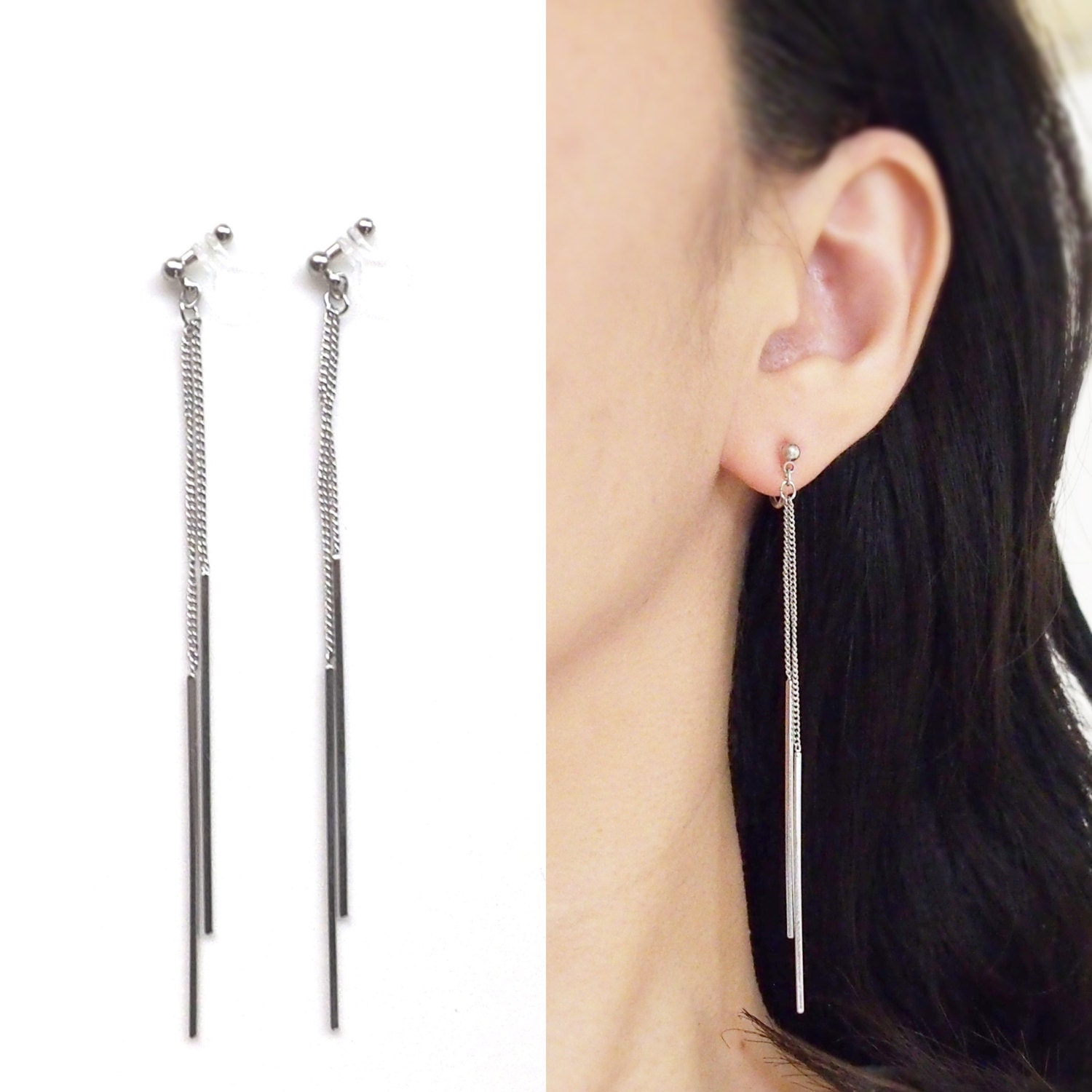 silver crystal product on normal gallery earrings jewelry lyst in vetements metallic clip