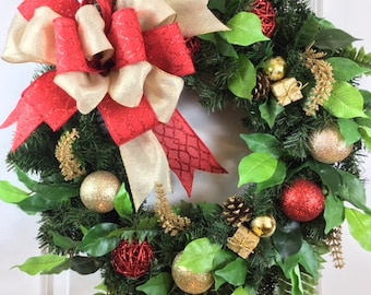 Christmas Door Decoration, Artificial Christmas Wreath, Christmas Wreaths for Sale, Elegant Christmas Wreath, Holiday Wreath, Red, Gold