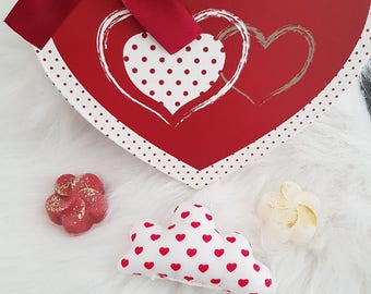 Small fabric cloud Valentine Red and white