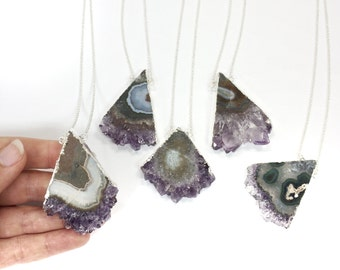 Solar Amethyst Quartz slice necklace - cross section of an amethyst stalagtite on a dainty silver chain with lobster clasp