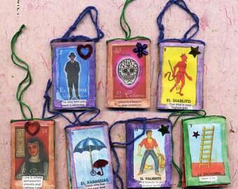Tiny Loteria card book ornament, ornament, loteria, loteria ornament, tiny book, mixed media book, book, good luck quotes, miniature book,