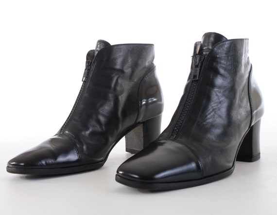 Boots Minimalist Heel Women's Boots 5 Block 8 Size 6 Chelsea Leather Black Ankle Italy 5 in 7 Bally Patent Booties 8 US Made Vintage UK5 fz5wq5
