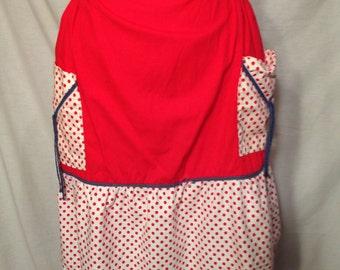 Vintage Red and White Polka Dot Half Apron