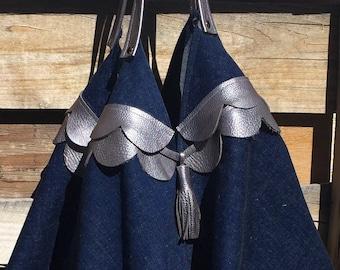 Die Bohemian - Einkaufstasche-Strand Tasche Stricken Tasche - Carry-All-Denim und Leder-Tasche
