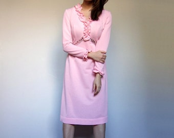 Pink Party Dress 70s Dress Long Sleeve Sequin Dress 1970s Ruffle Dress 70s Sequin Dress - Extra Small XS