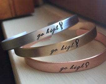 Go High Cuff Bracelet Stacking Thin Choice of Silver Gold Copper Balloon Michelle Obama When They Go Low We Go High Quote Jewelry