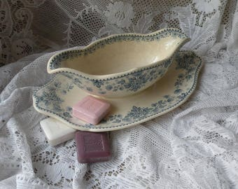 French antique Sarreguemines sauce boat, antique gravy boat, ironstone sauce boat, antique sauciere, shabby chic, antique transferware