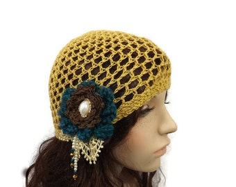 Flapper Hat 1920's Crochet Cloche Gold Silk Cashmere Beaded Teal Brown Flowers