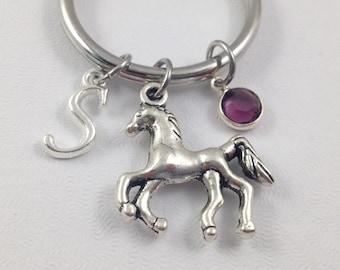 Horse Keychain, Pony Keychain, Birthstone Keychain, Initial Keychain, Custom Keychain, Gift for Horse Lover, Gift for Her