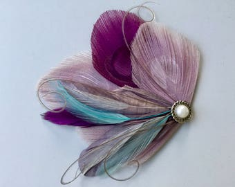 JANELLE Lavender, Grape Purple, Gray, and Turquoise Peacock Feather Hair Clip