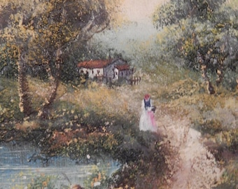 Signed . Vintage Impressionistic Oil Painting with Heavy Impasto