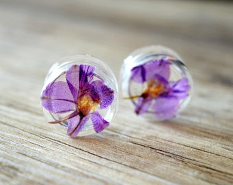 flower plugs 13/16 plugs 20mm real flower plugs floral ear gauges purple tunnels Unique Tunnel Plug Earrings rcute stretcher girly tunnels