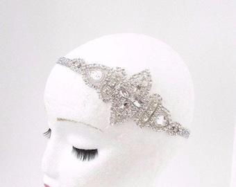 Silver Diamante Rhinestone Headband 1920s Great Gatsby Flapper Headpiece 3839