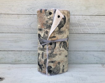 Unpaper towels, reusable, paper, cloth, snapping  - FRENCH ROOSTERS // gift // farmhouse// cottage//home sweet home// french country