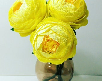 3 Crepe paper flower Lemon Yellow Peony crepe paper flower bouquet Flore de papel paper peony crepe peony wedding bouquet idea peonies