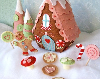 Plush Pattern, Candy Land Lane, Plush Sewing Pattern PDF, Fairy House, Felt Ornaments, Tiny House, Christmas Ornaments, Gingerbread House