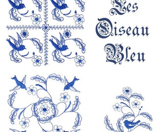 LES OISEAU BLEU. For the 4x4 hoop Prim/folk art Machine Embroidery Designs