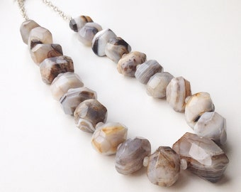 925 Sterling necklace with Botswana agate, necklace with silver, agate necklace, necklace with Rainbow Maansteen, Agate
